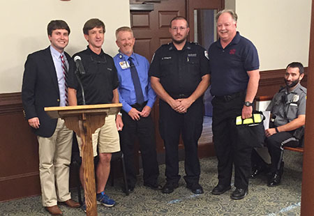 Heart of the Community Foundation presents AED to Cave Spring Fire Department